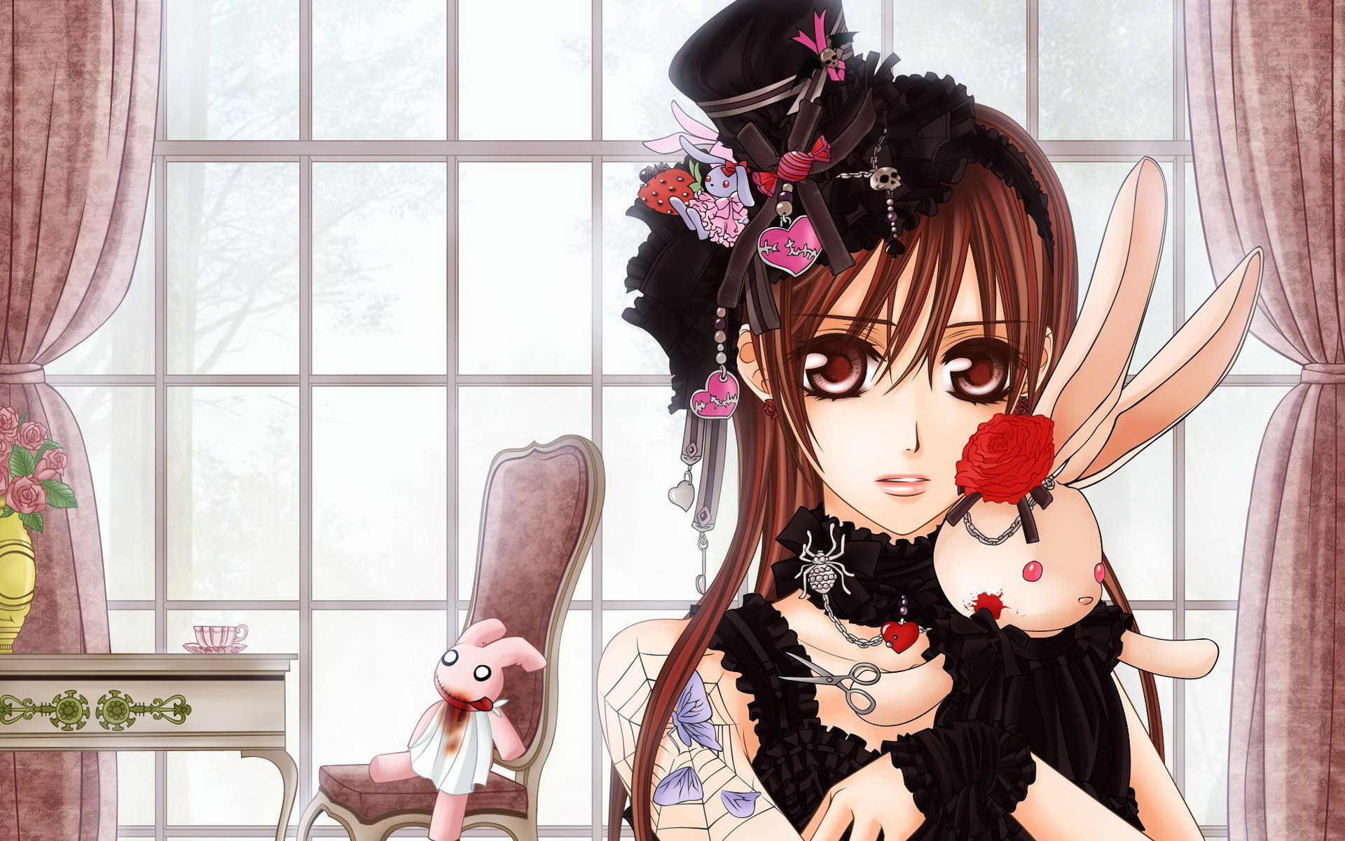 Beautiful Anime Girl With Toys